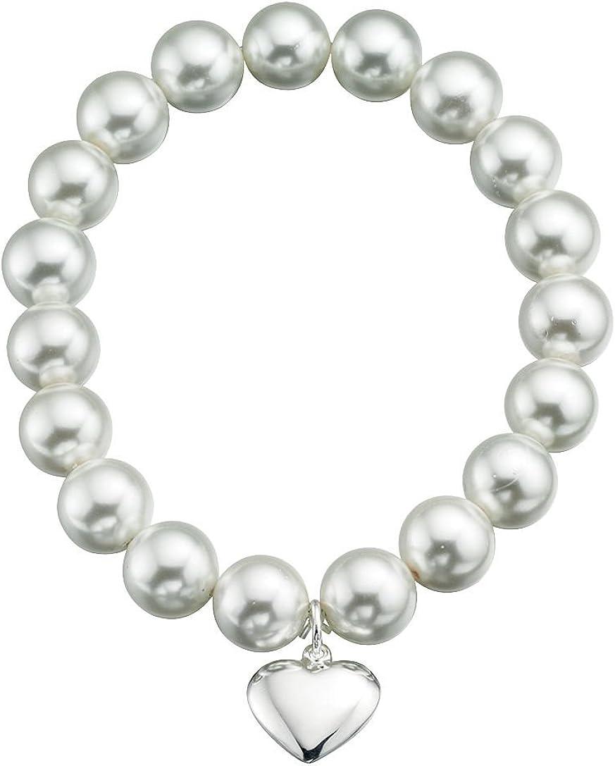 TF Señoras mujeres pulsera elástica flexible plata de ley 925, perlas de concha blanca con colgante de corazón, calidad de joyería de Alemania
