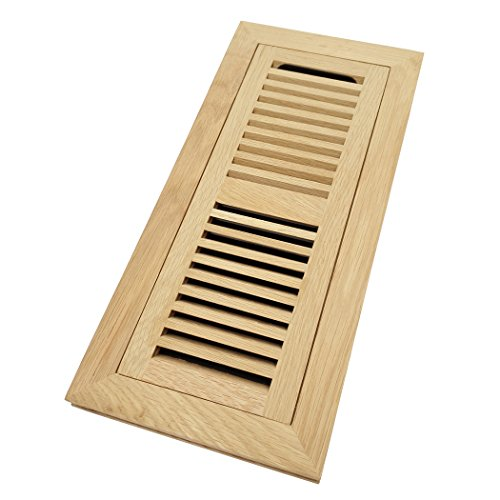 - White Oak Wood Flush Mount Floor Register Vent Cover, 4x12 Inch (Duct Opening), 3/4 Inch Thickness, with Damper, Unfinished