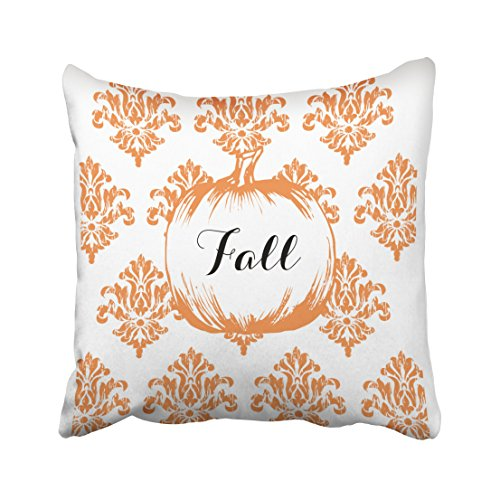 Accrocn Halloween Vintage Orange Pattern Fall Pumpkin Pillow Covers Cushion Cover Case 18x18 Inches Pillowcases One Sided