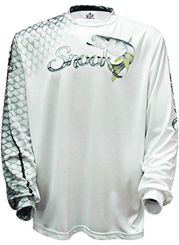 Bigfish SNOOK SCALES White UPF50 Long Sleeve Performance Fishing Shirt