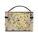 Vintage 1935 Nevada Map Portable Travel Makeup Cosmetic Bags Toiletry Organizer Multifunction Case