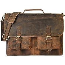 "kk's 18"" Inch Retro Buffalo Hunter Leather Laptop Messenger Bag Office Briefcase College Bag leather bag for men and women"