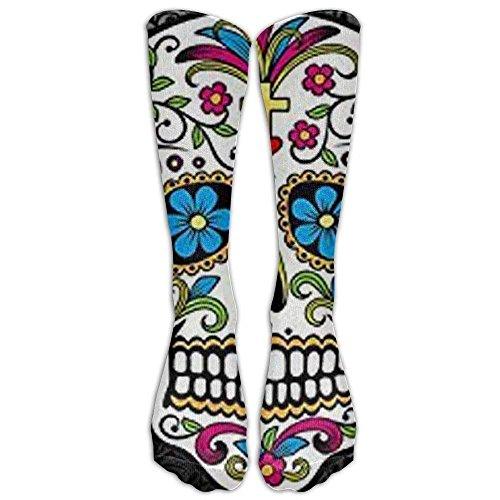 Long Sugar Skull And Flower Background Socks Women's Winter Vintage Cotton Wool Knit Long Crew Socks - Pink Skull Knee Socks