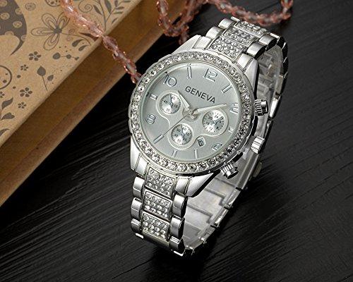 Fanmis Luxury Unisex Silver Crystal Quartz Calendar Stainless Steel Watch