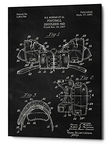 ll Shoulder Pad Blueprint Patent Chalkboard Giclee Canvas Wall Art, 12