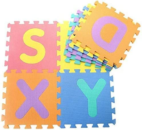 Gutsbox Alfombra Puzzle Niños de Letras para Niños Bebe Infantil, 30cmx30cm 10 Piezas de Goma Espuma Suave Eva Alfombras