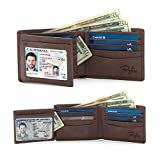 2 Window ID Holder RFID Wallet for Men, Multi Card Extra Capacity Travel Wallet, Ultimate Identity Theft, Credit Card Protection, Full Grain Leather Bifold (Texas Brown - Distressed Leather)