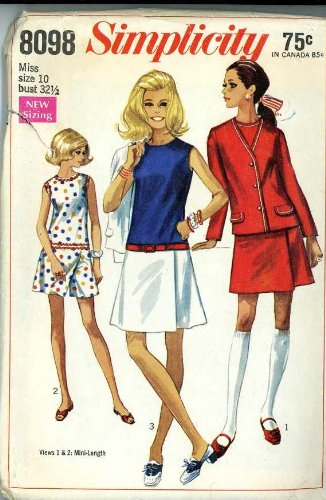 VINTAGE 1969 UNCUT & OOP - SIMPLICITY 8098 CULOTTE-DRESSES & UNLINED JACKET SEWING PATTERN MISS' SIZE 12 (34