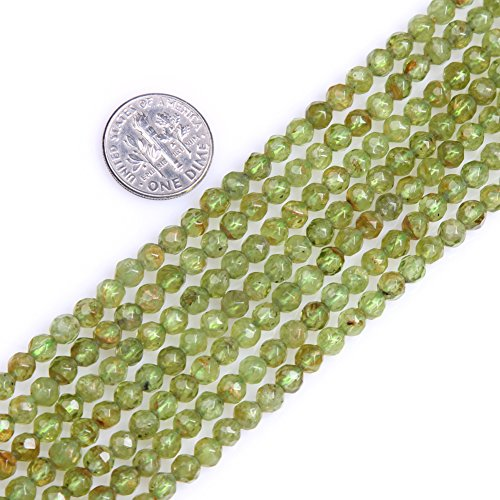 GEM-inside Natural 4mm Faceted Green Peridot Gemstone Tiny Seed Round Strand Loose Beads for Jewelry Making Jewelry Beading Supplies for Women