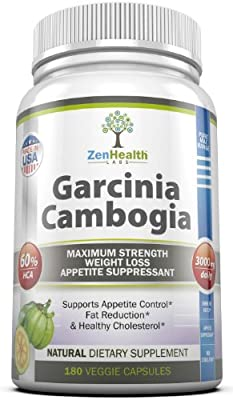 Garcinia Cambogia Extract Pure Max 3000mg - Extra Strong Ultra Premium Weight Loss Supplement - 60% HCA - 180 Veggie Capsules - 500mg Per Capsule - Natural Appetite Suppressant Diet Pill & Best Fat Burner With Potassium & Calcium - Three Daily Servings of