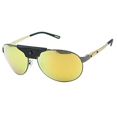 6ed052c233f Chopard SCH-932 Men Black Leather Piece Mirrored Polarized Aviator  Sunglasses