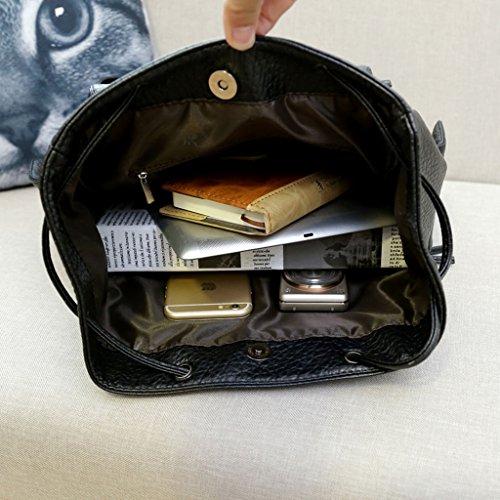 Outdoor School Trip Wenkend Casual Leather Black Shoulder Bookbag Women's Laptop Over Ladies Bag Party Day Travel Drawstring Girls Pack for Backpack Daypack MeCool Knapsack Rucksack 6ZqUc