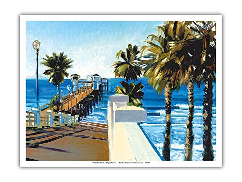 Pacifica Island Art - Oceanside Pier, California - from an Original Color Painting by Wade Koniakowsky - Master Art Print - 9in x 12in