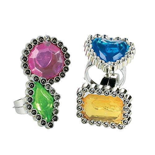 Fun Express Colorful Rhinestone Rings (6 Dozen) -