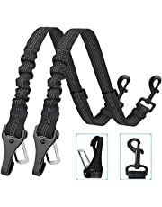 Corooci Dog Seat Belt,2021 Newest 2-in-1 DESIGN Latch Bar Attachment Pet Car Seatbelt Metal Buckle Elastic Buffered Reflective Nylon Belt Tether for Dogs Safety Belt Harness for Travel Daily Use(Black)