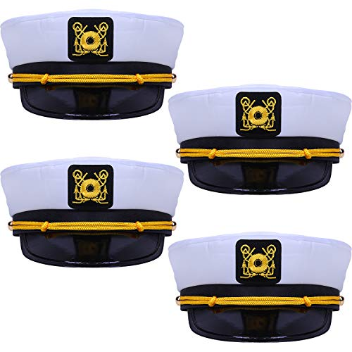4 Pieces Nautical Captain White Sailor Hats