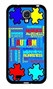 Autism Awareness on Blue Background Plastic Phone Case Back Cover Samsung Galaxy S4 I9500