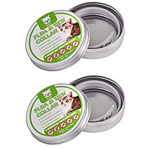 2 Pack Flea and Tick Control Adjustable Waterproof Collar Protect for Dogs/Cats - Last for 8 Months with Natural Plant Extracts Pet Treatment Prevention Fits All