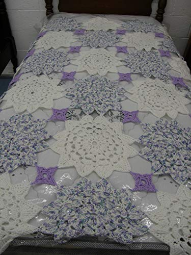 The Doily Afghan, Hand Crocheted, Throw, Blanket, Afghan, White Lavender, Multi Colored