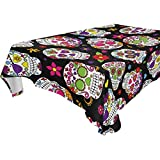 WOZO Rectangular Mexican Sugar Skull Floral Tablecloth Table Cloth Cover for Home Decor Dinner Kitchen Party Picnic Wedding Halloween Christmas 60x120 inch