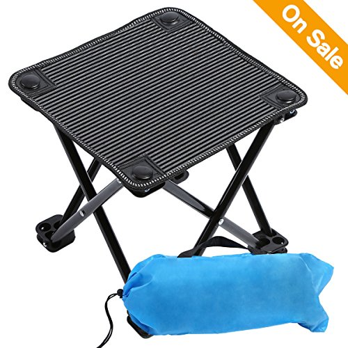 Mini Ultralight Camping Stools Camping Chairs Folding Portable Stool with Carry Bag Outdoor Camping Fold Chair for Camping, Hiking, Fishing, Beach, Park, BBQ and Festivals Maxi Bearing 220lb Compact Pop Up