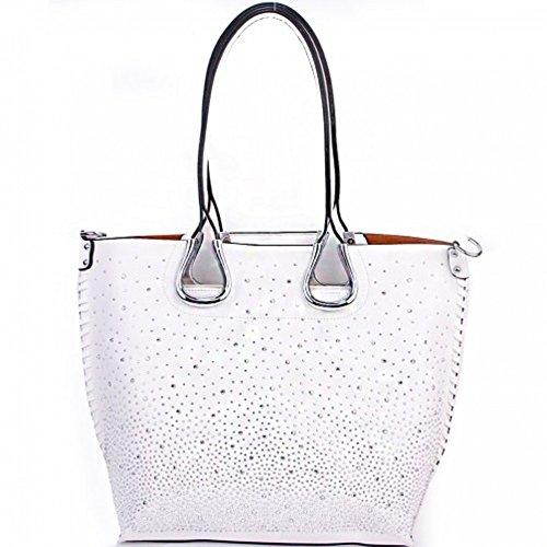 Paradise Fashion Metallic Rhinestone Studded 2 in 1 Tote Shouder Handbag (WHITE)