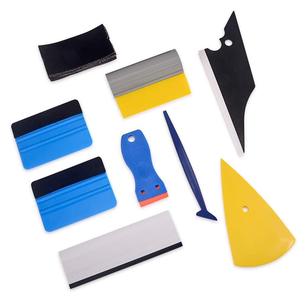 WINJUN Window Tinting Kits Vinyl Wrap Tool Windshield Water Wiper Mini Squeegee Plastic Razor Scraper Felt Squeegee 10 pcs Replacement Felt
