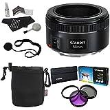 Canon EF 50mm f/1.8 STM Lens + Polaroid Bundle Kit + Polaroid Optics 49mm 3 Piece Filter Set (UV, CPL, FLD) + Bower Lens Pouch + Polaroid Cleaning Kit + Polaroid Lens Cap & Strap