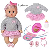 Huang Cheng Toys 9pieces Baby 12-inch Doll with...