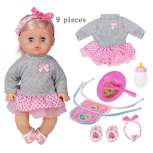 Huang Cheng Toys 9 PCS 12 inch Doll Baby with Clothes Lovely Newborn Doll Hairband Shoes 2 Bibs Nursing Bottle Plate Spoon for Kid
