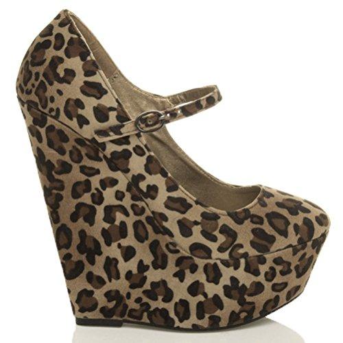 babies Daim compensés talons fermées femmes taille hauts à Léopard Chaussures plateforme pxR4dw4q