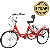 Slsy Adult Tricycles 7 Speed, Adult Trikes 24/26 inch 3 Wheel Bikes, Three-Wheeled Bicycles Cruise Trike with Shopping Basket for Seniors, Women, Men.