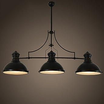 Style Accueil Chandelier Américain Vent Monopoly Trois E273 Noir Billard Têtes Loft Retro Industriel Lampe 5LRjA4
