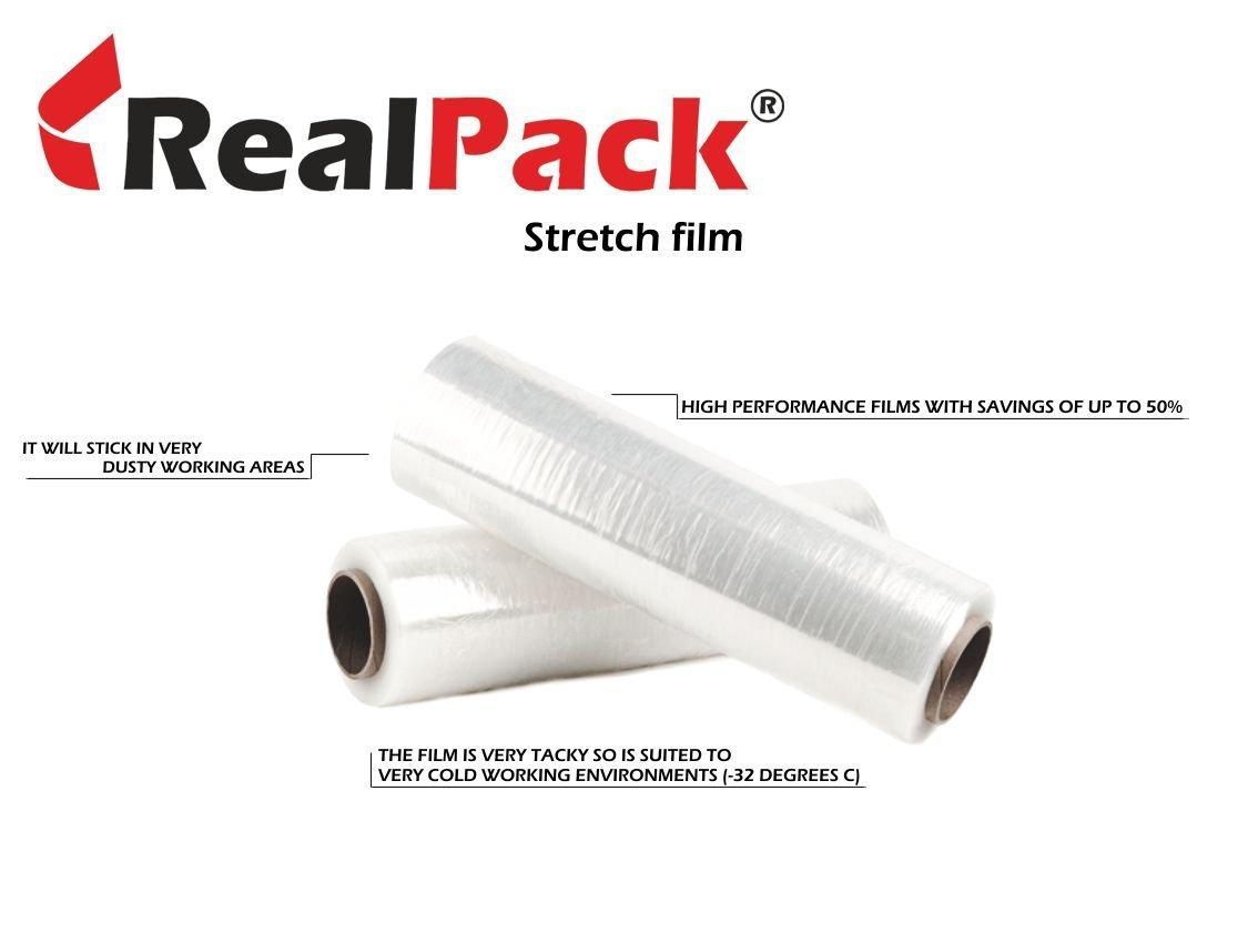 Pellicola elastica aderente, per imballaggio, trasparente, 400 mm x 250 m, 2 confezioni 400mm x250m Packaging Express DIAMOND-2xClear400x250