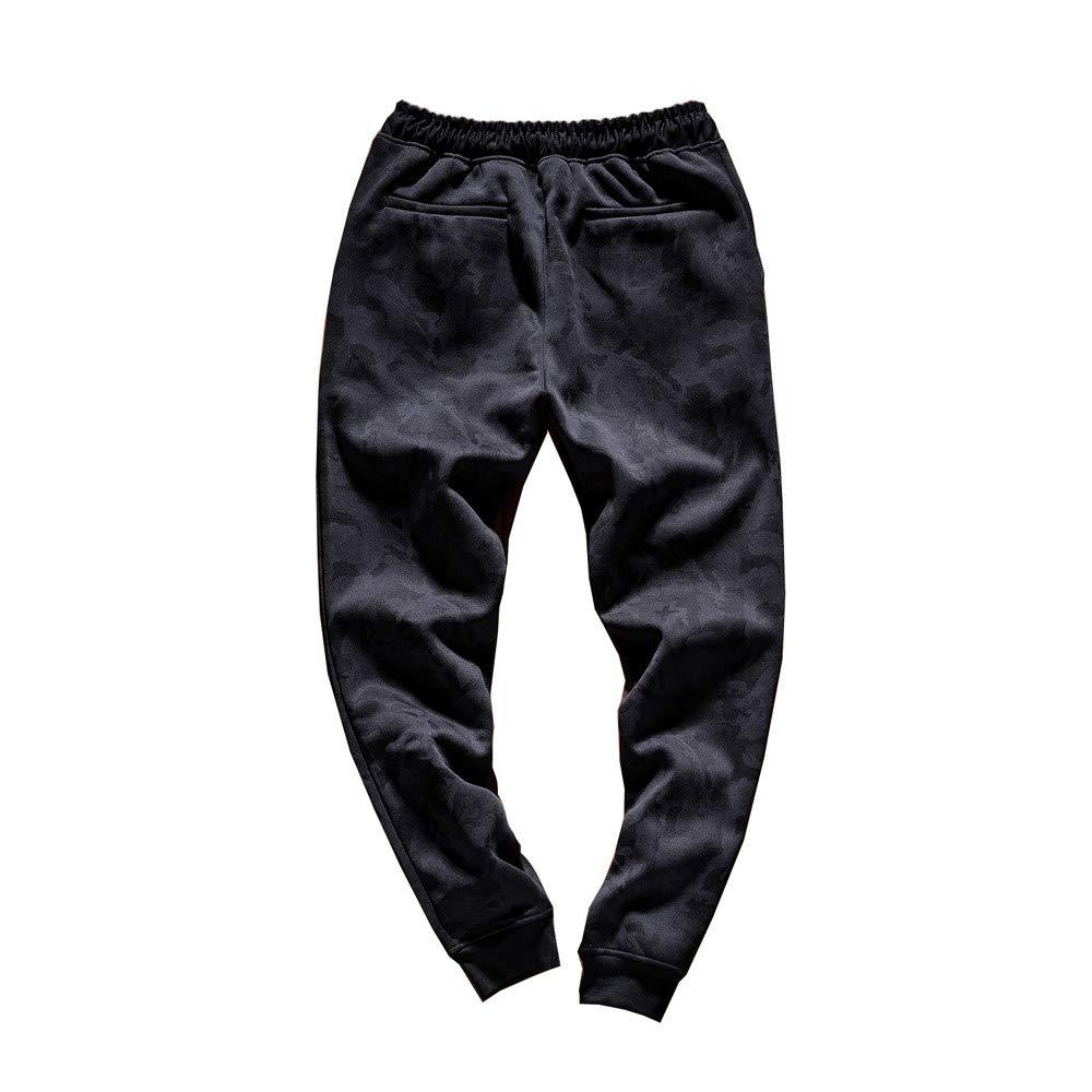 Gergeos Men Camouflage Pants Elastic Waist Cotton Casual Trouser with Pocket Black