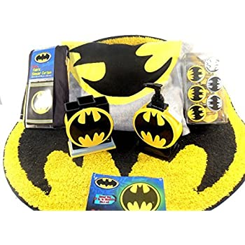 Batman Bathroom Set, Shower Curtain, Hooks, Bath Rug, Bath Towel, Pump  Lotion, Toothbrush Holder