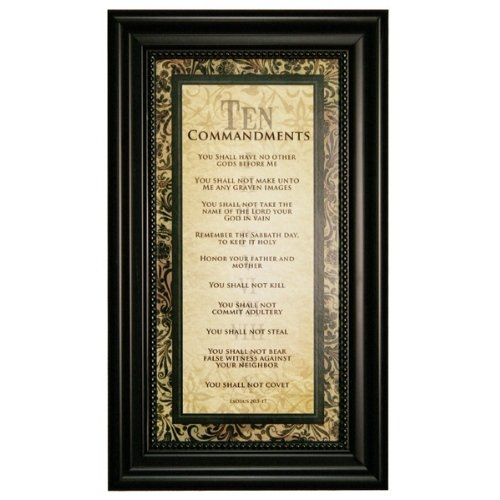 Ten Commandments Plaque (Carpentree Ten Commandments Framed Art, 9 by 15 by 1 inch)