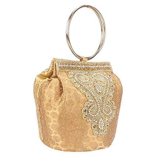 (Fantastic Indian Women's Embroidery Double Handle Potli Bag (Golden))