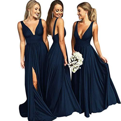 Bridesmaid Dresses Long V Neck Backless Split Beach Wedding Evening Prom Dress for Women Navy Blue Size8 ()