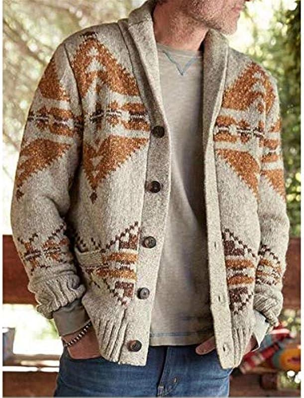 Jakflyzel Męskie Wolle Cardigan Large Size Print Revers Button Herbst Warme Casual Elastizität Männlicher Pullover: Odzież