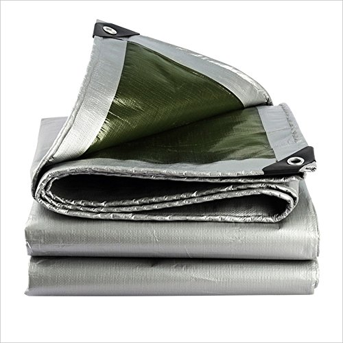 QX pengbu IAIZI Dickere imprägniernere Plane im Freien, hell und einfach zu tragen, LKW-Sonnenschutz-Plane, eine Vielzahl von Größen (Farbe   Silber+Grün, größe   3X 3m)