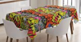 Ambesonne Graffiti Tablecloth, Contemporary Style Hip Hop Funky Grunge Culture Skull Underground Illustration, Dining Room Kitchen Rectangular Table Cover, 60 W X 90 L inches, Multicolor
