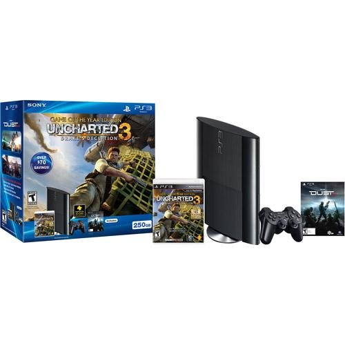 Playstation 3 250Gb Extra Controller Bundle With Uncharted 3 And Ps Plus 12 Month Membership