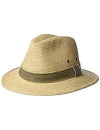 Scala mens plus-size Hemp Safari Hat With Leather Band