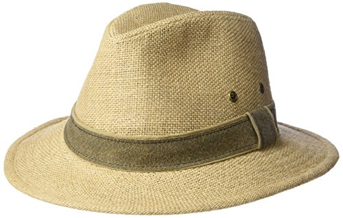 SCALA Men's Hemp Safari Hat with Leather Band, Camel, Medium