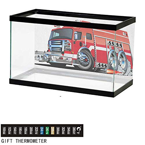 """Jinguizi CarsFish Tank BackdropBig Fire Truck with Emergency Equipments Universal Safety Rescue Team Engine Cartoon60 L X 24"""" H Red SilverAquarium Background"""