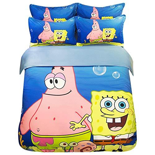 HOLY HOME Duvet Cover Set Cotton-Mixed Polyester 4 Piece-Bedclothes Spongebob Queen Size - Spongebob Sheets