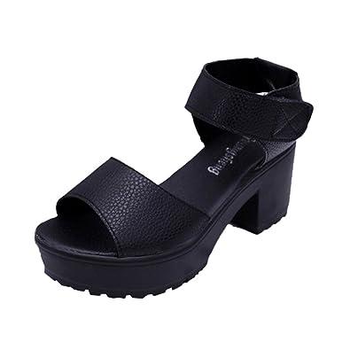 ef3d2ab299 Jamicy Ladies Sandals Open Toe Platform Sandals Women Summer High Heel  Gladiator Chunky Shoes (35