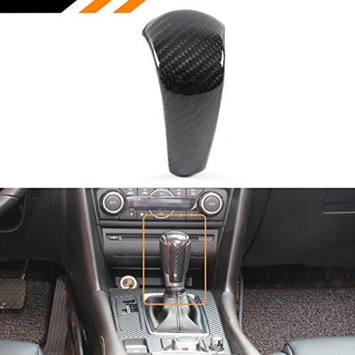 Cuztom Tuning FOR 2015-2017 MAZDA 3/6/CX-5/CX-9 ADD-ON REAL CARBON FIBER SHIFT KNOB AUTO GEAR COVER