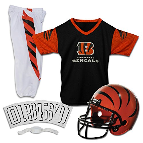 Franklin Sports Deluxe NFL-Style Youth Uniform - NFL Kids Helmet, Jersey, Pants, Chinstrap and Iron on Numbers Included - Football Costume for Boys and Girls (Cincinnati Bengals Football Jersey)